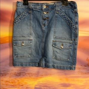 Roxy Jean skirt button fly pockets front & back